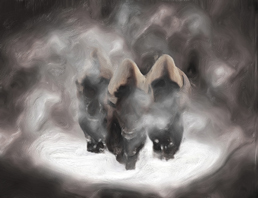 Mysterious figures in cloaks covered in a fog