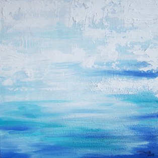 Artwork using blue and white that looks like sky and water
